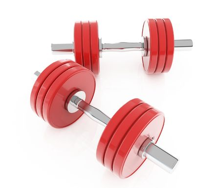 isolated red dumbbells Stock Photo - 3118902