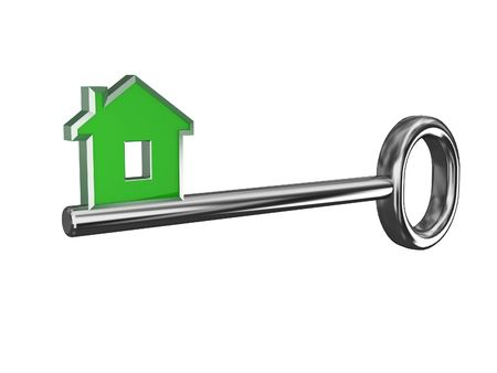 housing plan: isolate key of your dream house 02 Stock Photo