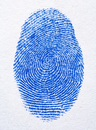 fingermark: close up image of blue finger print Stock Photo