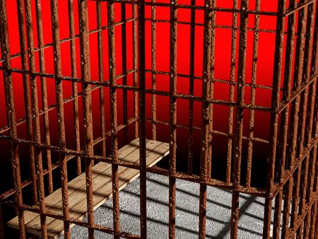metal cage 3d, concept of jail  background Stock Photo - 3229131