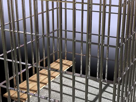 metal cage 3d, concept of jail 02 background Stock Photo - 3229134