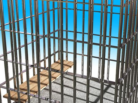 metal cage 3d, concept of jail 03 background Stock Photo - 3229136