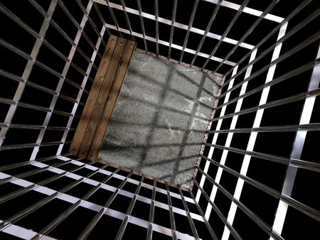 image 3d of metal cage, jail background Stock Photo - 3229127