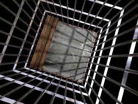 lockup: image 3d of metal cage, jail background