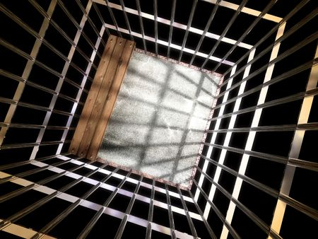 image 3d of metal cage, jail background Stock Photo - 3229126