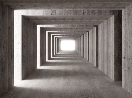 path to success: fine image 3d of concrete tunnel and lateral lights, abstract background