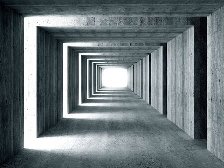 simply: fine image 3d of concrete tunnel and lateral lights, abstract background