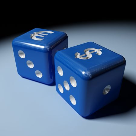 image 3d of dice with dollar and euro sign Stock Photo - 3321407