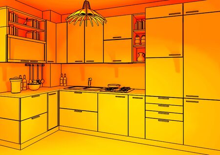 image 3d of modern indoor kitchen ambient background photo