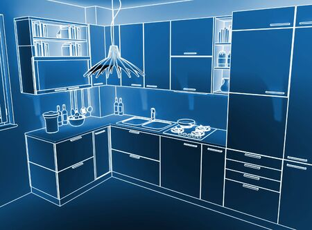 image 3d of modern indoor kitchen ambient photo