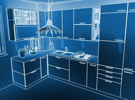image 3d of modern indoor kitchen ambient Stock Photo