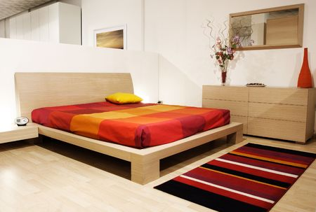 fine image of modern wood bed room