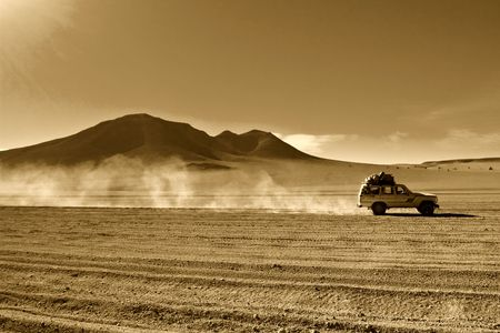 touring car: natural background, bolivians desert