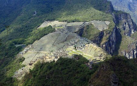 aereal: aereal view of machu picchu