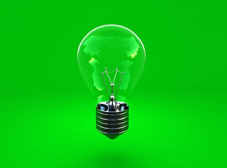 image 3d of green eco light bulb background photo