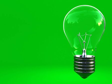 green eco background classic light bulb with space for write Stock Photo