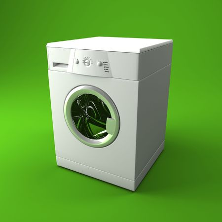 fine 3d image of classic washing machine with green background photo