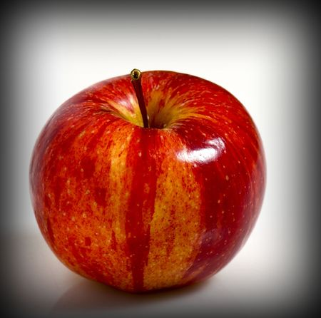 fruit background, red apple on white plane Stock Photo - 3636893