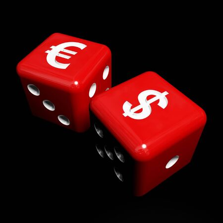 fine 3d image of red and white dice and money symbol photo