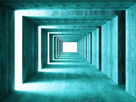 straight path: fine image of 3d concretet tunnel abstract background Stock Photo