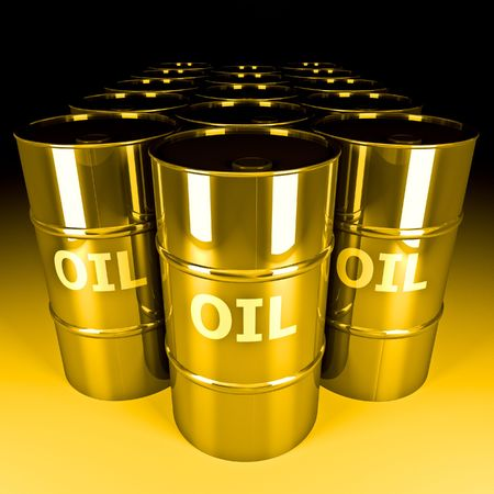 oil platform: fine image 3d of gold oil barrel Stock Photo