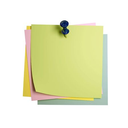 bulletinboard: fine image 3d of classic postit isolated on white