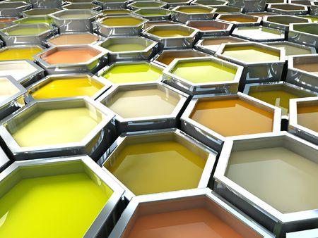 fine image 3d of yellow tone hexagon color paint photo