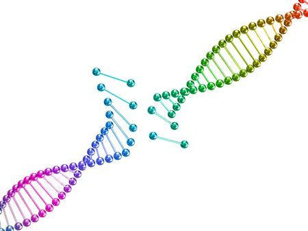 nucleic: fine image 3d of broken dna illustration background Stock Photo