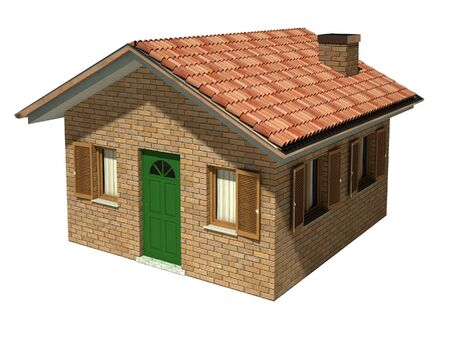 isolated classic brick house model background Stock Photo - 3852063