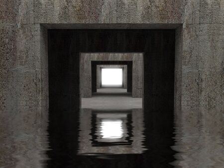 moving office: fine image 3d of concrete tunnel background