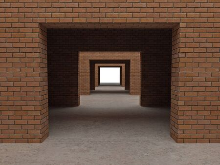moving office: fine image 3d of modern brick building
