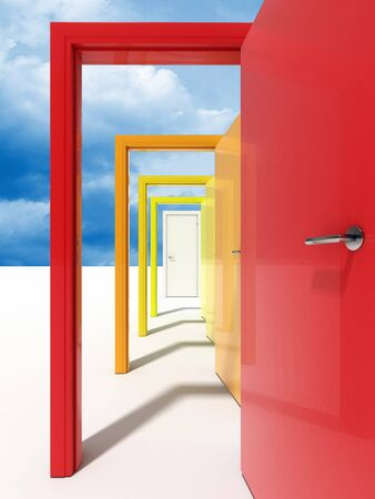 fine image 3d of door and sky abstarct background Stock Photo - 3955889