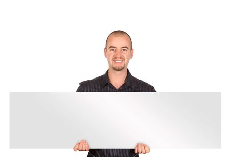 isolated caucasian young man with white board Stock Photo - 3976065