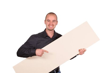 fine image of young confident man holding board Stock Photo - 3976068