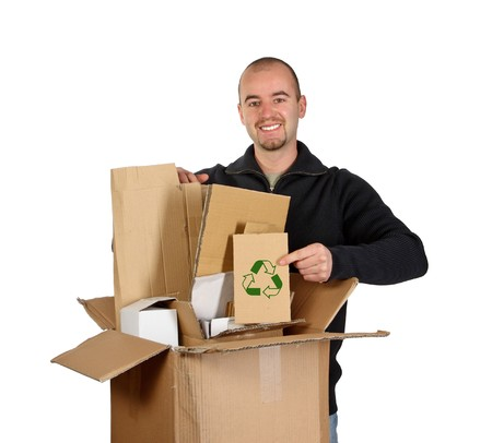 Isolated man on white show recycling cardboard Stock Photo - 3976069
