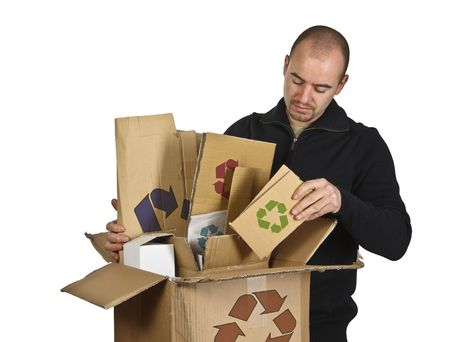 fine image of caucasian man recycling cardboard Stock Photo - 3976075