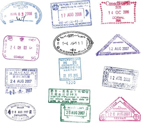 canada stamp: nice collection of different vector passport stamp Stock Photo