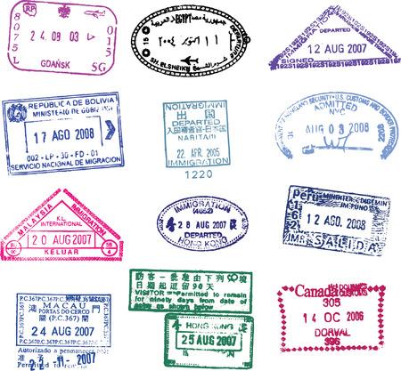 passeport: belle collection de timbres diff�rents vecteur passeport