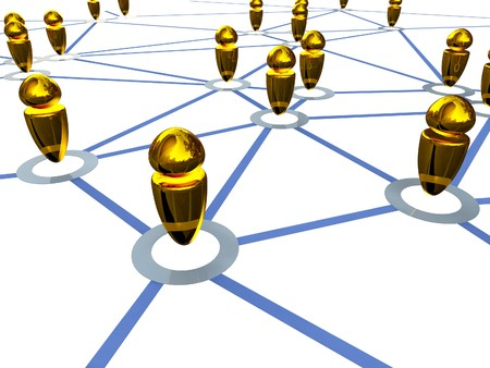 honing: fine 3d image of gold metaphoric connection business people Stock Photo