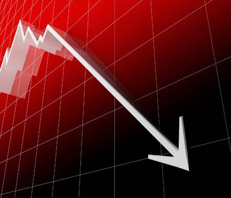 finacial: 3d red finacial stat white arrow go down, recession