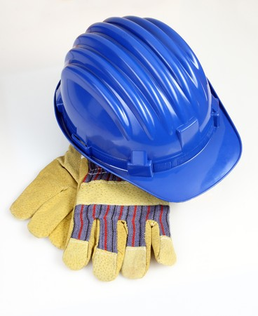 work wear: industrial image of helmet and gloves background