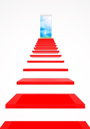 stage door: red stair and open window on blue sky and green grass Stock Photo
