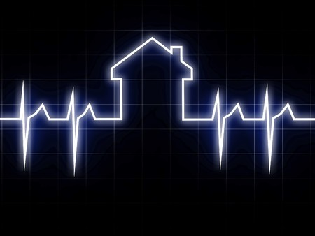 cardio: fine 3d image of abstract cardio house background Stock Photo