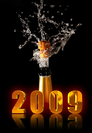 champagne bottle with shotting cork background new years day photo