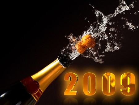 champagne bottle with shotting cork background 2009 new years day photo