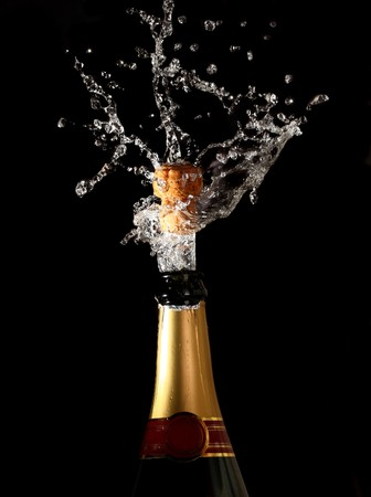 champagne bottle with shotting cork background Stock Photo - 4067727