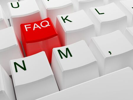 general knowledge: fine 3d image of red faq button on white keyboard