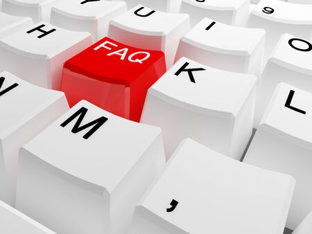 recently: red faq button on classic white keyboard Stock Photo