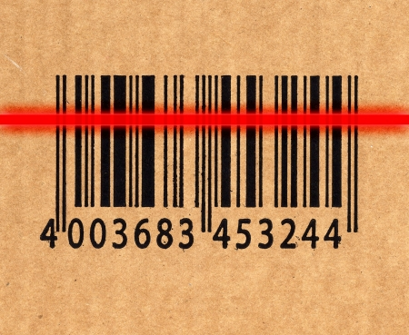 insulate: close up image of barcode on cardboard