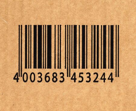 checkout line: close up image of barcode on cardboard